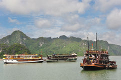 Pleasure Boats in Halong Bay Stock Images