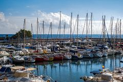 Pleasure boats in the harbor Royalty Free Stock Images