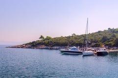 Pleasure boats at the Kassandra Peninsula, Greece Stock Image