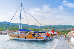 The pleasure boats in Kekova. KEKOVA, TURKEY - MAY 7, 2017: The scenic port of Kekova with numerous moored pleasure boats, on May 7 in Kekova Stock Photo
