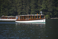 Pleasure boats on the Koenigssee lake close to Berchtesgaden Royalty Free Stock Photos