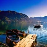 Pleasure boats at lake. Europe Stock Photography