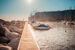 Pleasure boats moored in the harbor. Sistiana, Trieste, Italy - July 28, 2015: Pleasure Boats moored in the harbor Stock Photos