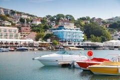 Pleasure boats are moored in marina of Balchik, Bulgaria Stock Photo