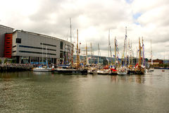 Pleasure boats moored in the marina at Belfast`s Titanic Quarter beside the Odyssey Arena. During the Tall Ships visit to Belfast in July 2915 Stock Photography
