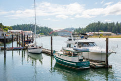 Pleasure Boats Moored at Pier, La Conner Washington Royalty Free Stock Images