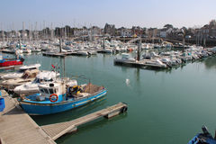 Pleasure boats were moored in a port (France) Royalty Free Stock Images