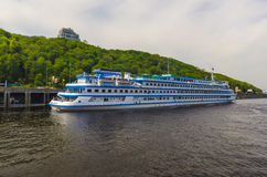 Pleasure boats moored on the River Dnieper in Kiev. Stock Photography