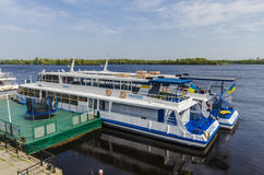 Pleasure boats moored on the River Dnieper in Kiev. Royalty Free Stock Images