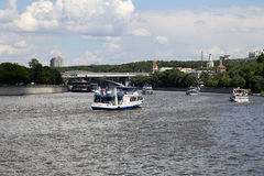 Pleasure boats on the Moskva river, Russia Stock Photography