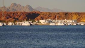 Pleasure boats near the piers. Egypt stock footage