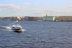 Pleasure boats on the Neva River in St. Petersburg Royalty Free Stock Images