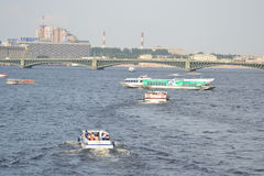 Pleasure boats on the Neva River. Stock Photography