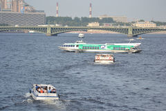 Pleasure boats on the Neva River. Royalty Free Stock Images