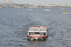 Pleasure boats on the Neva River. Stock Photo