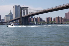 Pleasure Boats in New York City's East River Stock Photography