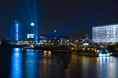 Pleasure boats in the night illumination on the River Spree Royalty Free Stock Photo
