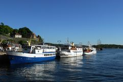 Pleasure boats in the old port of Oslo Royalty Free Stock Photography