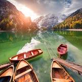 Pleasure Boats On Braies Lakeand Seekofel Mount On Background. Royalty Free Stock Images