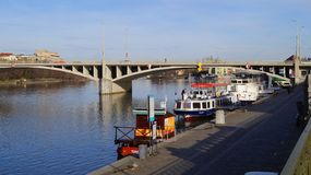 Pleasure boats parked on the Vltava pier in Prague royalty free stock photos
