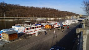 Pleasure boats parked on the Vltava pier in Prague stock photo