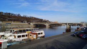 Pleasure boats parked on the Vltava pier in Prague stock photos