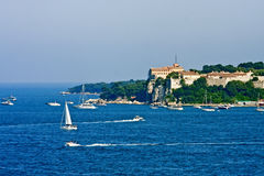 Pleasure Boats Past Old French Fortress Royalty Free Stock Photography
