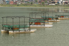 Pleasure boats on Phewa lake Royalty Free Stock Image