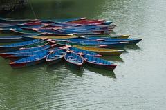 Pleasure boats on Phewa lake stock photo