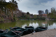 Pleasure boats in the pond of the city park Royalty Free Stock Image