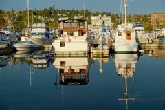 Pleasure boats refeflection. Pleasure boats docked at Fishermens Terminal in Seattle, WA are reflected in the calm blue waters of Salmon Bay Stock Photos
