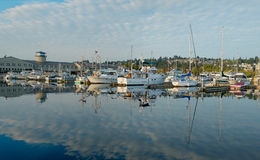 Pleasure boats refeflection. Seattle, WA, USA Sept 16, 2016: Pleasure boats docked at Fishermens Terminal in Seattle, WA are reflected in the calm blue waters of Stock Photos