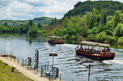 Pleasure boats on the river Dordogne Stock Photo