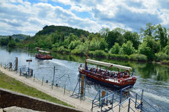 Pleasure boats on the river Dordogne Stock Image