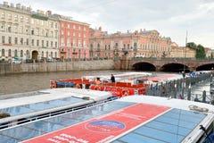 Pleasure boats on the river Fontanka. Stock Images