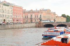 Pleasure boats on the river Fontanka. Royalty Free Stock Photos