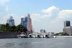 Pleasure boats on the river Moscow. Royalty Free Stock Photography