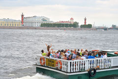 Pleasure boats on the river Neva. Stock Images