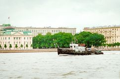 Pleasure boats on the rivers of St. Petersburg, Russia royalty free stock photo
