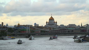 Pleasure boats sailing across the Moscow River stock video footage