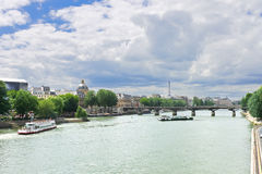 Pleasure boats on the Seine in Paris. Stock Images