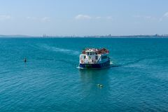 Pleasure boats with tourists in the Burgas Bay. Bulgaria. Royalty Free Stock Image