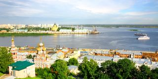 Pleasure boats travel along the Volga Stock Photos