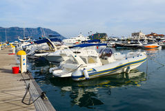 Pleasure boats and yachts at the pier, Budva, Montenegro Royalty Free Stock Photos