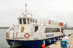 Pleasure catamaran in the port of Bourgas, Bulgaria Stock Photos