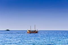 Pleasure craft boat in Adriatic sea. Croatia, on excursion circular tour Stock Image