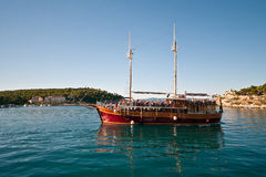 Pleasure craft boat in Adriatic sea Croatia, on excursion tour Stock Photo