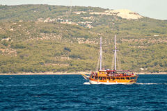 Pleasure craft boat in Adriatic sea Croatia, on excursion tour Stock Photos