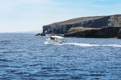 Pleasure craft at the island Comino Royalty Free Stock Photography
