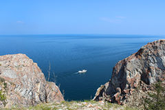 Pleasure craft in lake Baikal Royalty Free Stock Images